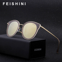 FEISHINI Brand Copper Frame GOLD Polarized Men Cat eye Sunglasses 2018 Fashion Sexy Street Style Driving Glasses Women With Box