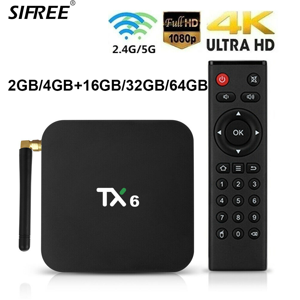 Smart TV Box 4GB RAM 64GB ROM Android 9.0 TX6 Allwinner H6 16/32G/64G Support 4K H.265 2.4G/5GHz Dual WiFi BT4.1 Media Player