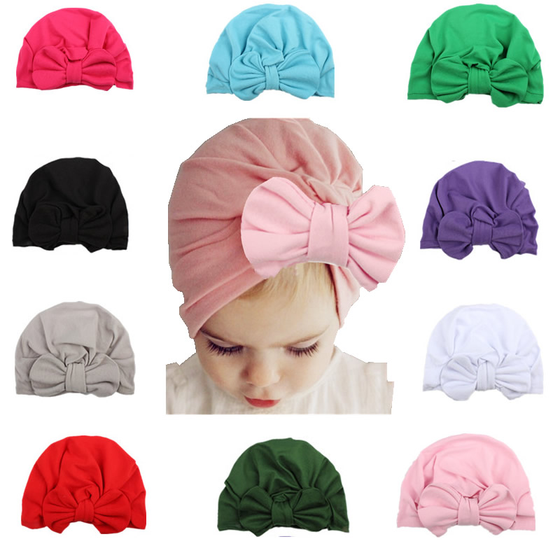 New Designed Cute Baby Hat Cotton Soft Turban Bow Knot Girls hat Bohemian style For Newborn Toddler girl hair accessories