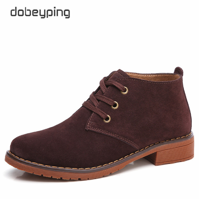 dobeyping 2017 Casual Women's Boots Autumn Winter Snow Shoes Woman Lace-Up Warm Female Ankle Botas Cow Suede Leather Shoes Women front lace up casual ankle boots autumn vintage brown new booties flat genuine leather suede shoes round toe fall female fashion