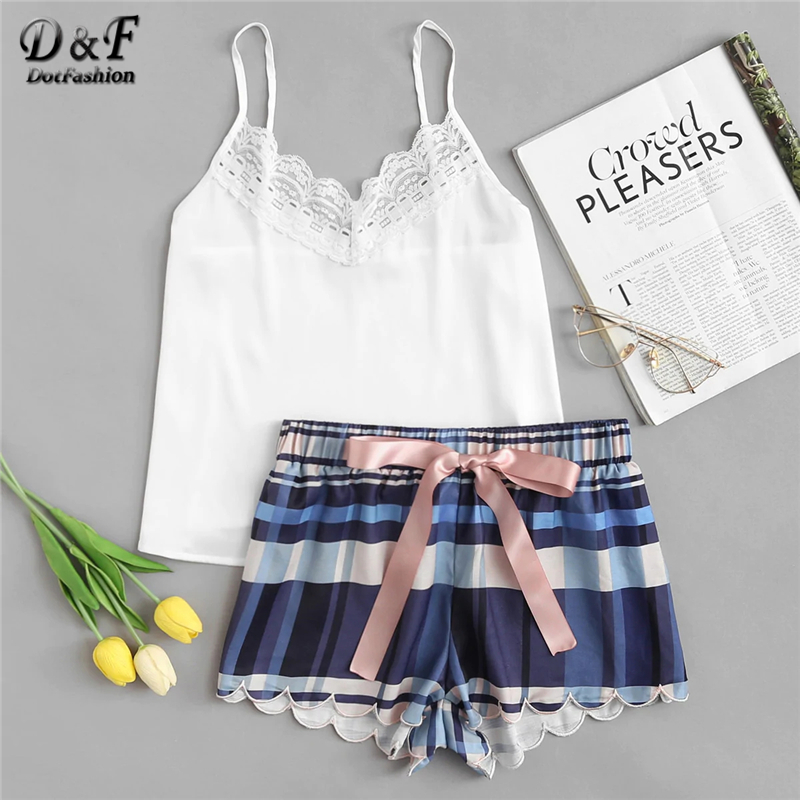 Dotfashion Lace Detail Cami And Scalloped Plaid Shorts PJ   Set   Womens 2019 Summer V Neck Sleeveless Nightwear Preppy   Pajama     Sets