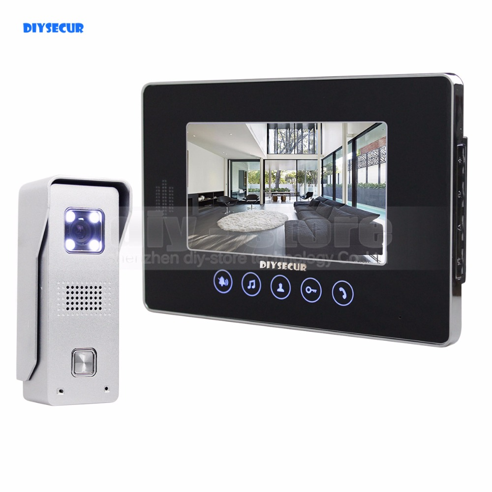 """DIYSECUR 7"""" Wired Video Door Phone Doorbell Home Security Intercom System 1-In 1-Out"""