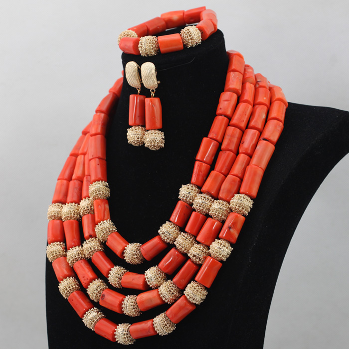 Aliexpress.com : Buy Latest Coral African Beads Necklace Set for ...