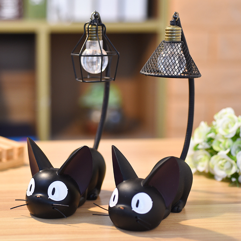 Resin Collectible figurines Miniatures Mini Cute Black Cat Figurine Desktop Night time Mild Residence Bed room Ornament Crafts Youngsters Reward