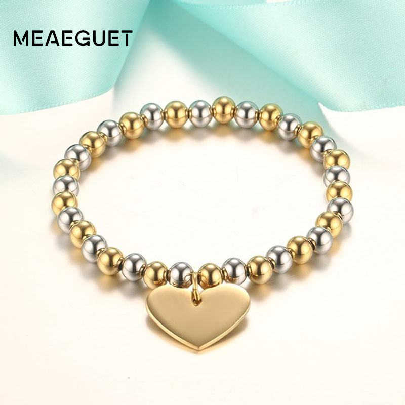 Classic Women's Heart Bracelet Stainless Steel 6mm Beads Gold Silver Color