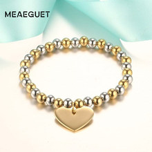 Classic Women's Heart Bracelet Stainless Steel 6mm Beads Gold Silver Color(China)