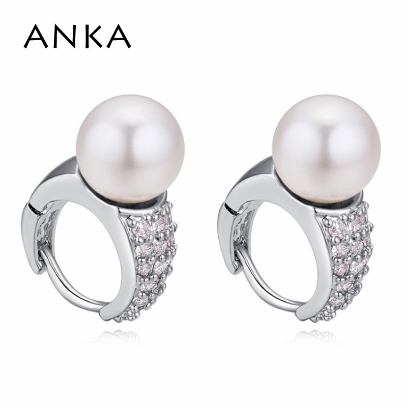 7e22eb34a577e ANKA pequeno cristal de Swarovski stud bola brinco de pérola para mulheres  de design de luxo top zirconia CZ brincos moda jóias  121360