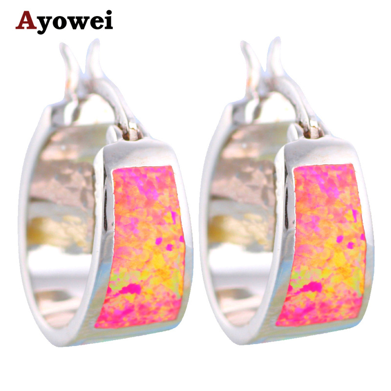 c07d01ec22eb67 Womens Elegant earrings Top sell Wholesale Retail Round Color Fire Opal  stamp Silver Hoop Earrings Fashionl Jewelry OE315A