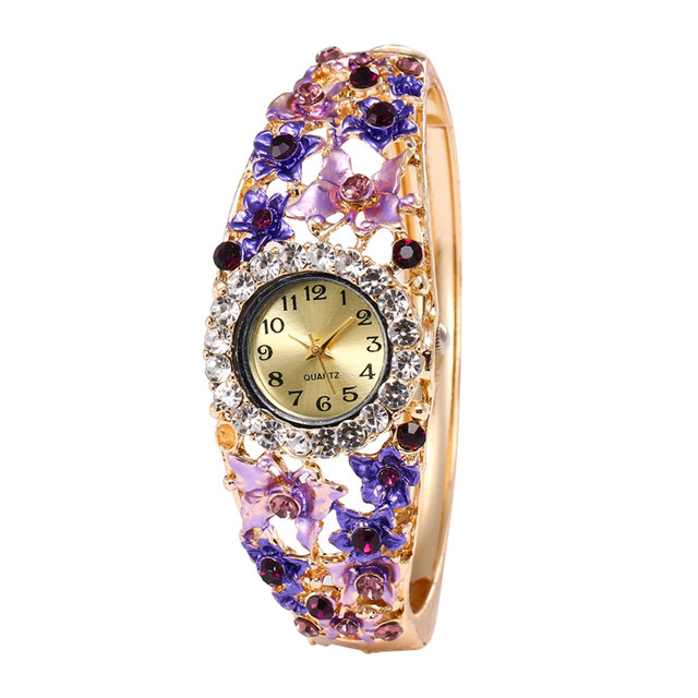 Bracelet Watches Women Luxury Crystal Dress Wristwatches Round Full Rhinestone M