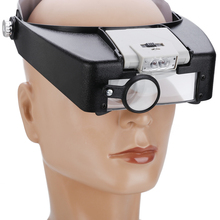 цена на Headband Magnifier Led Power Lamp Head Magnifying Visor Glass Jeweler Watch Repair Loupe With Led Lights 1.9X 3.8X 6.4X 8.3X