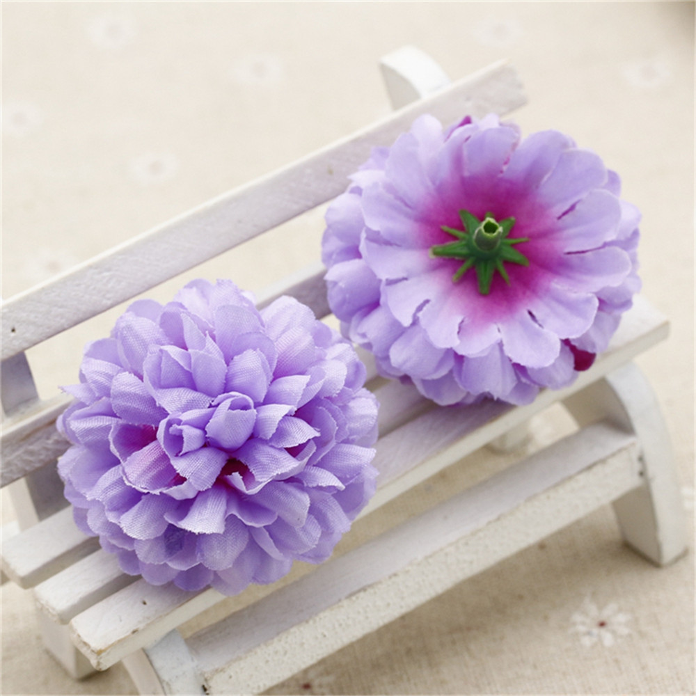 New 10pcs Silk Artificial Carnation Pompom Flowers Head For Wedding