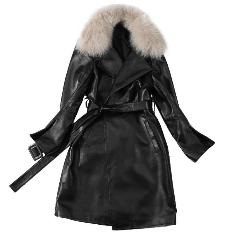 a9078a7c40b Detail Feedback Questions about Trench Coat Women Plus Size Long Coats  Ladies Genuine Leather Jacket Detachable Fox Collar Winter 2018 Black Trench  Coats on ...