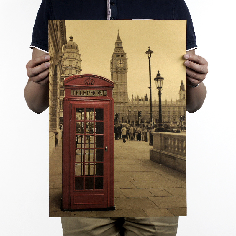 51x36cm london red telephone booth kraft paper poster for Home decorations london