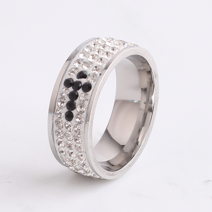 free shipping 8mm three row rhinestone cross 316L Stainless Steel finger rings for women men wholesale