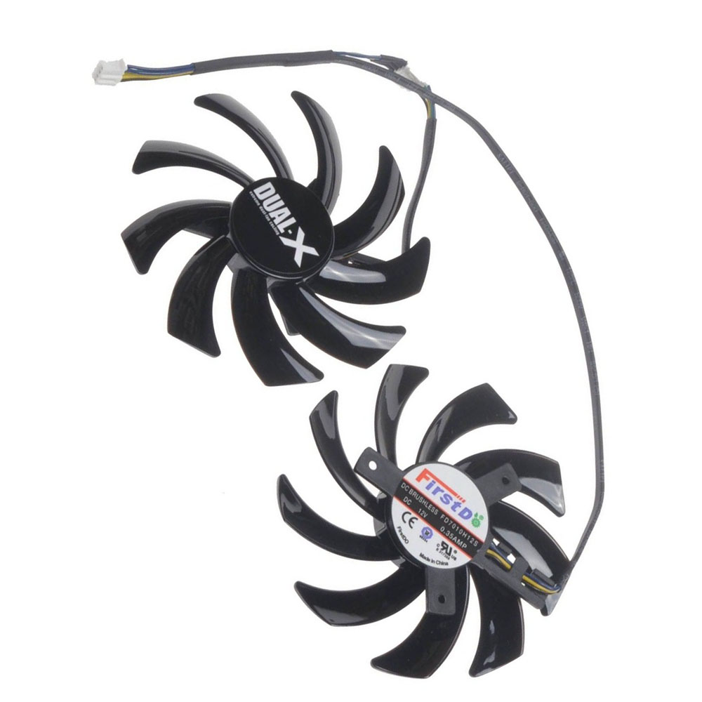 2 Pcs/Lot 85MM 12V FDC10H12S graphics Card Fan VGA Cooler Fans for Sapphire R9 350 360 370X RX460 4G D5 Video card cooling ga8202u gaa8b2u 100mm 0 45a 4pin graphics card cooling fan vga cooler fans for sapphire r9 380 video card