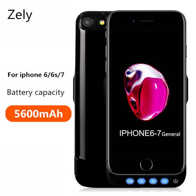 Zely caso de la energía de 5600 mah para iphone 6 6 s cubierta del cargador móvil banco de la energía de batería de reserva casos para iphone 7 casos de la cubierta de carga