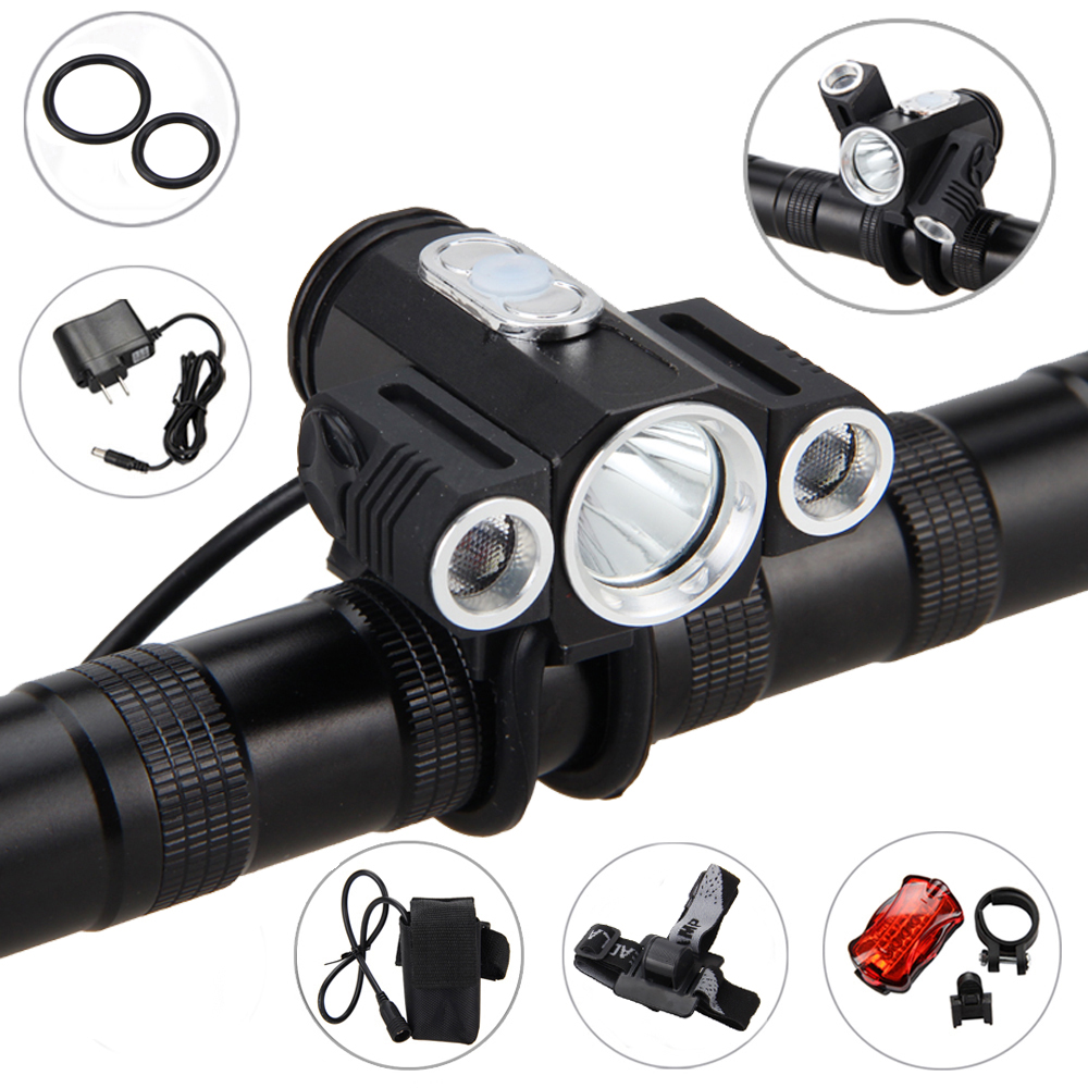 10000LM 3x XML T6 LED 4.2v Adjust angle Front Bicycle light Bike Lamp Headlight with Battery+Back <font><b>Tail</b></font> Light