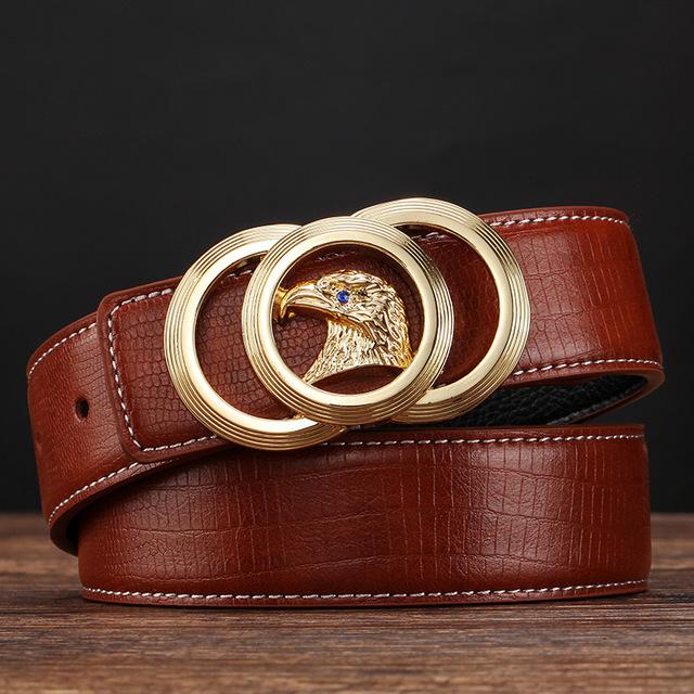 2016 Nuevo Diseñador de la Marca Cinturones de Los Hombres de Alta Calidad de Cuero Genuino Hebilla Automática Correas Para Los Hombres de Negocios de Lujo Ocasional de La Pretina de