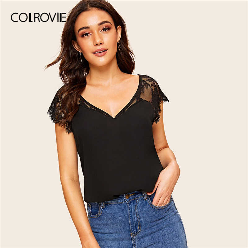 COLROVIE Black Solid V Neck Contrast Lace Cuff Elegant Blouse Shirt Women Clothes 2019 Summer Style Workwear Office Ladies Tops