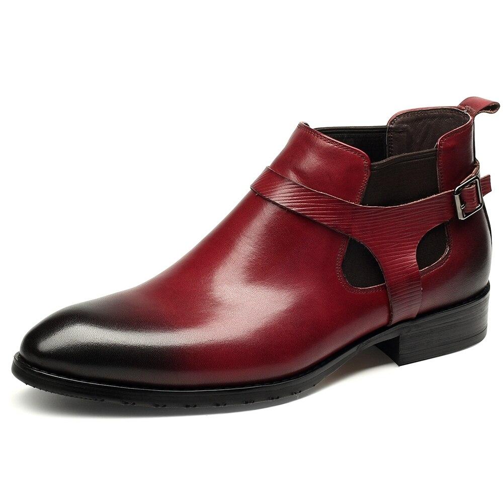 Robe Haute Célèbre Chaussures Véritable Qualité En Pointu Nouveau Black Cheville Cuir wine Bottes Hommes Laçage Marque hrdxtCQs