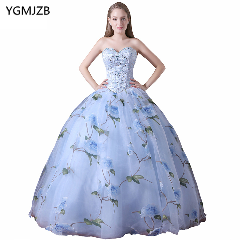 New Arrival Long Prom Dresses 2018 Ball Gown Sweetheart Beaded ...