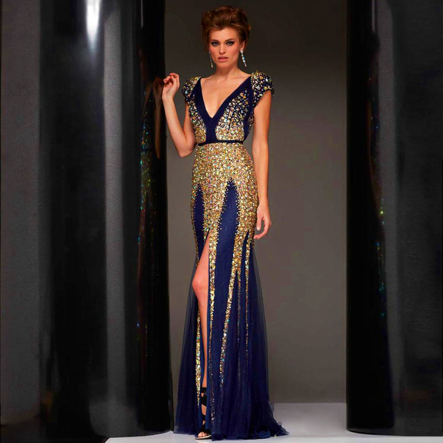 c0ed77f76871 2017 Luxury Gold and Navy Blue Evening Dresses Deep V Neck Shoet Sleeves  Split Front Beads Prom Party Gowns Plus Size 3171028