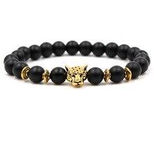 Natural Frosted Stone Chakra Bracelets Pulseira Feminina Men Women Gold Leopard Head Charm Bracelet Unisex Jewelry Accessories