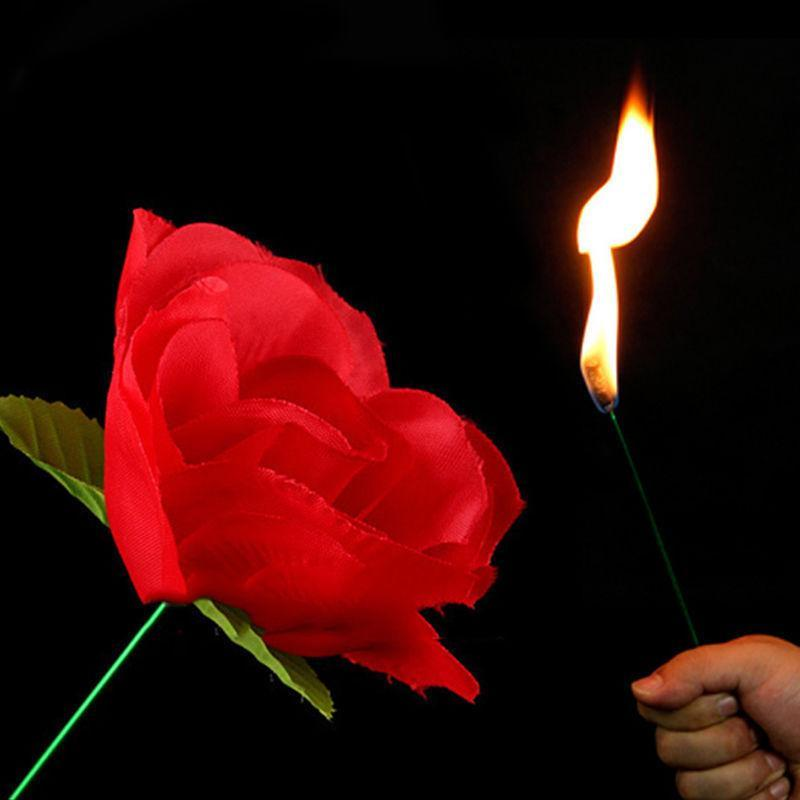 New Romantic Stage Close Up Magic Trick Torch To Rose Tricks Popular Fire Flame Appearing Flower