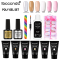 6 kleur Builder Nail Gel Lak Poly Gel Set Poly Extension UV Led Nagellak Gel Nagel Borstel Anti Oplossing Nail file Base Top Coat Kits