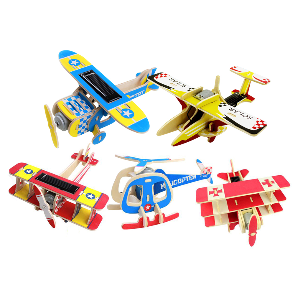 Solar DIY Wood Plane Aircraft Puzzle Toy Children 3D Assembly Puzzles Jigsaw Toy Educational Airplane Model Building Puzzle Toy solar military transport plane baron p320 jigsaw puzzle building blocks environmental diy toy