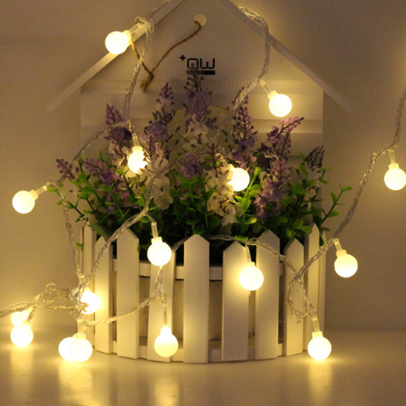1x 2m 20led fairy christmas lights wedding decoration 2x aa battery led ball garland string lights lighting holiday party lamps in led string from lights
