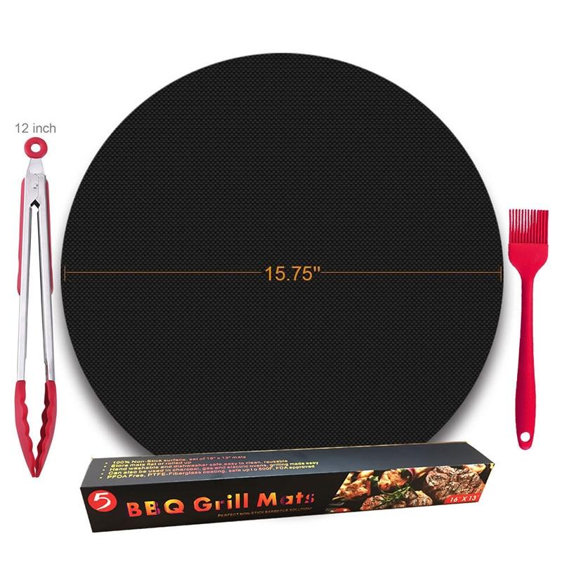 2PCS/set BBQ grill mat 0.2mm barbecue mat 15.75 high temperature Teflon pad barbecue grill non-stick Reusable BBQ Grill Mats