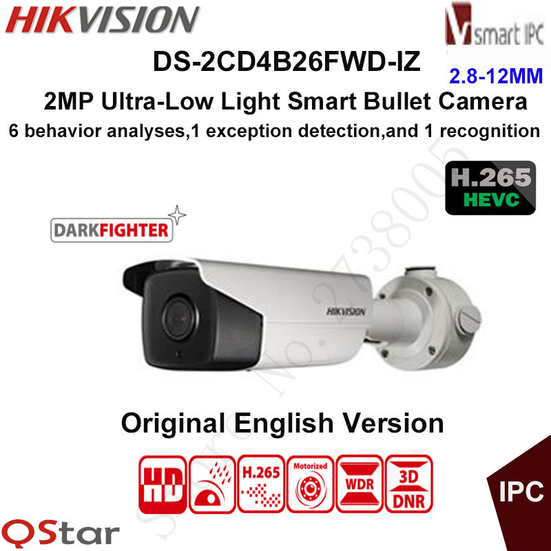 Hikvision 2MP Ultra-low light H.265 Smart Security IP Camera DS-2CD4B26FWD-IZ Bullet CCTV Camera POE Motorized 2.8-12mm WDR IP67 hikvision ds 2df8223i ael english version 2mp ultra low light smart ptz camera ultra low illumination dark fighter