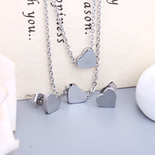 LUXUSTEEL Forever Love Gold Color Double Heart Pendant Necklace Earrings Fashion Stainless Steel Chain Double Chain Jewelry Sets