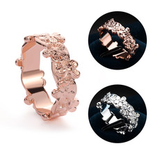 Genuine Solid Rose Gold Floral Ring Lucky Daisy Plum Blossom Cherry Flower Women Wedding Rings Proposal Gift Jewelry(China)