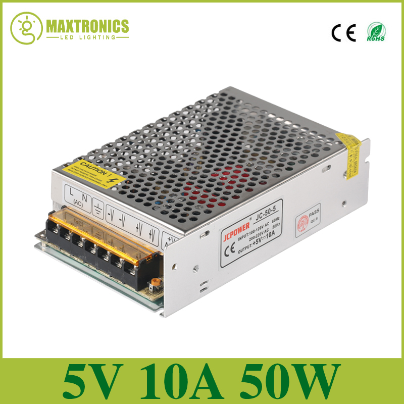 5V 10A 50W Switching Power Supply Driver for 5V WS2812B WS2801 LED Strip Light AC 100-240V Input to DC 5V Free shipping