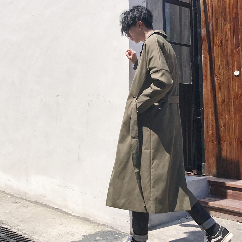 Uyuk 2019 Spring Men Casual Long Loose Solid Color Clothes Tide Adjustable Waist Coat