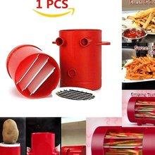 Horno de microondas rojo portátil exquisito fácil de usar cubertería de patatas fritas rebanadas para hornear una máquina
