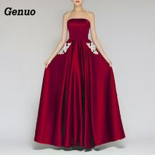 Genuo Elegant Women Sexy Long Maxi Dress Summer Formal Print Wedding Evening Party strapless Dresses vintage robe longue