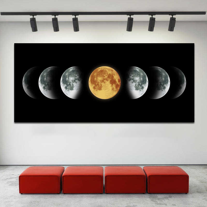 SELFLESSLY Moon Poster Wall Art Painting Big Size Canvas Art Painting Black Pictures For Living Room Modular Decoration Unframed
