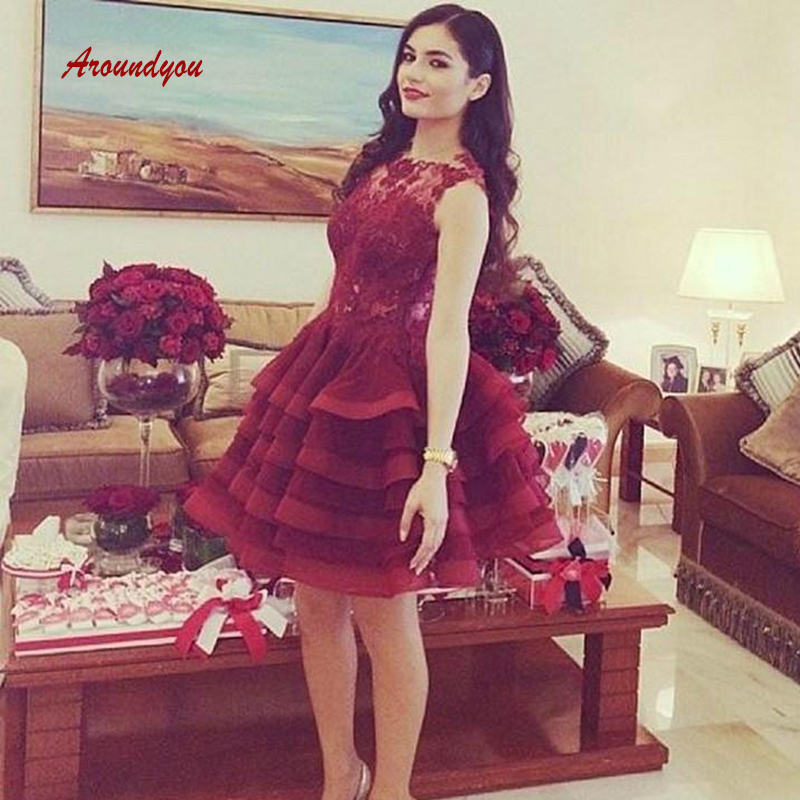 Sexy Burgundy Short Lace Cocktail Dresses Prom Plus Size Formal Graduation Party Homecoming Dresses