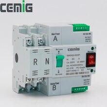 ATS двухмощный автоматический переключатель передачи SMGQ2-63/2 P Автоматический выключатель MCB AC 230 V 16A to 63A бытовой 35 мм с установкой рейки