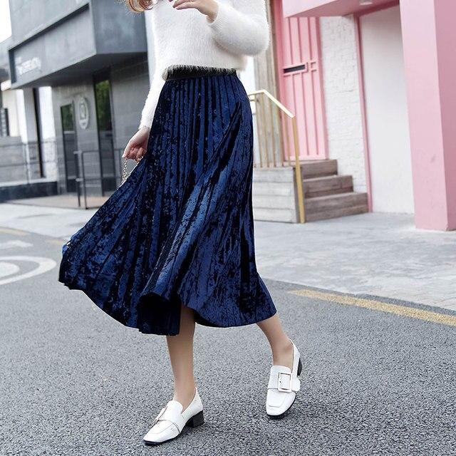 LYFZOUS Velvet Pleated Skirts Womens New Fashion Streetwear Midi Skirt 2018  Autumn Winter Ladies Elastic Waist fc9da000581d