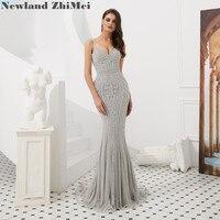 Hot Silver Mermaid Prom Dress 2019 Luxury Spaghetti Strap Sweetheart Evening Gowns vestido de baile