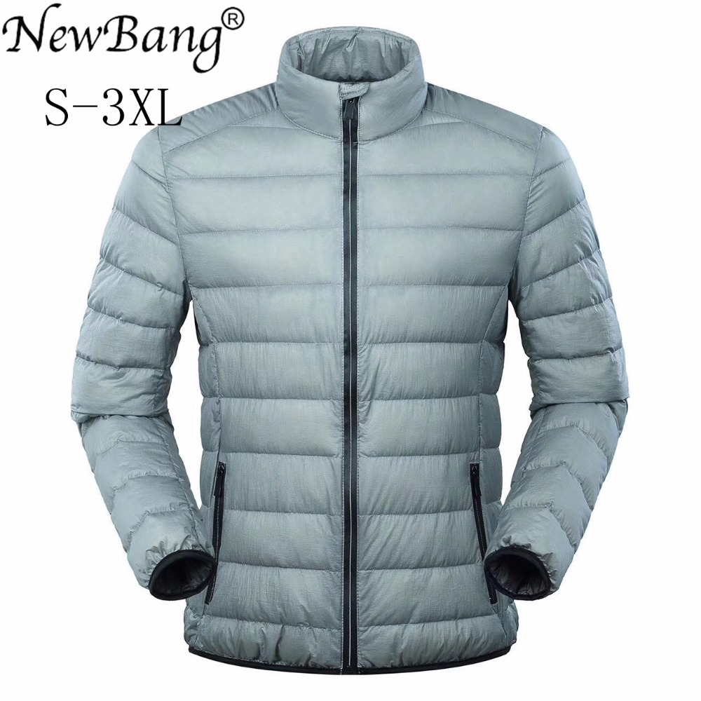 NewBang Feather Jacket Man Ultra Light Down Jacket Men Winter Coat Duck Down Windbreaker Stand Collar Parka Waterproof Zipper