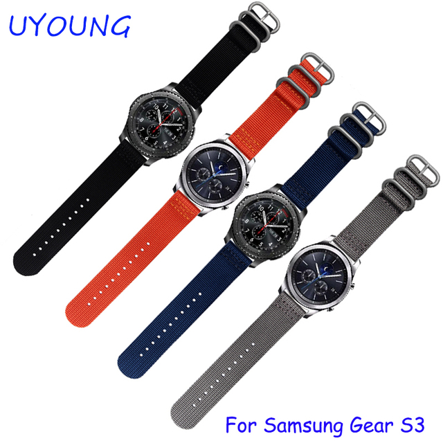 For Samsung Gear S3 Classic/Forntier Wristbands 22mm Nato Nylon Watch band  3 ring Smart