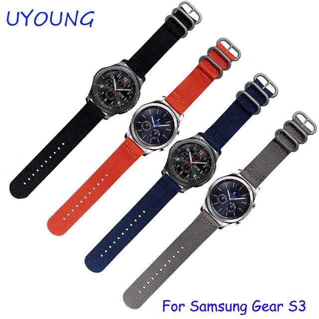 Pour samsung gear s3 classique/forntier bracelets 22mm nato nylon bande de  montre 3 anneau