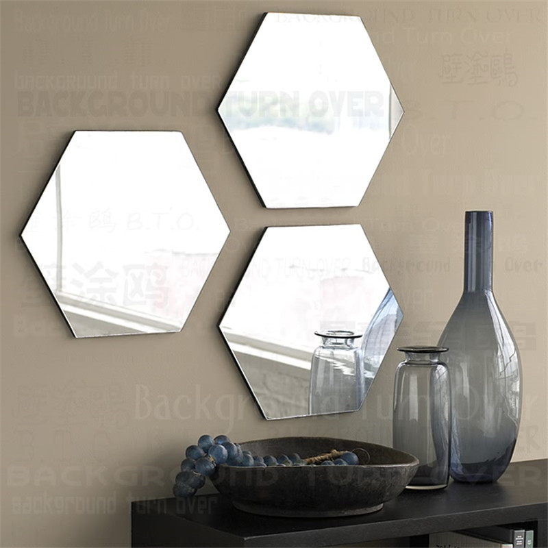 1pcs/set Regular Hexagon Honeycomb Crystal Mirror Wall ...