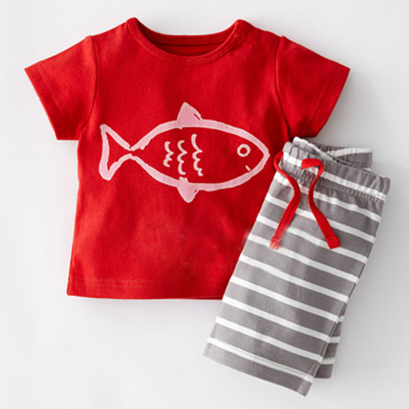 Summer Baby Boys Clothes Set Striped Short Sleeve Cartoon Print T-shirt Tops+shorts Casual Outfits Sets Beach Girls Clothes Set Mother & Kids Clothing Sets