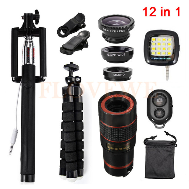 8x Zoom Telephoto Lens Phone Lenses 12in1 Kit Fish eye Wide Angle Macro Lentes Tripod Clips Flash Fill Light For iPhone Xiaomi